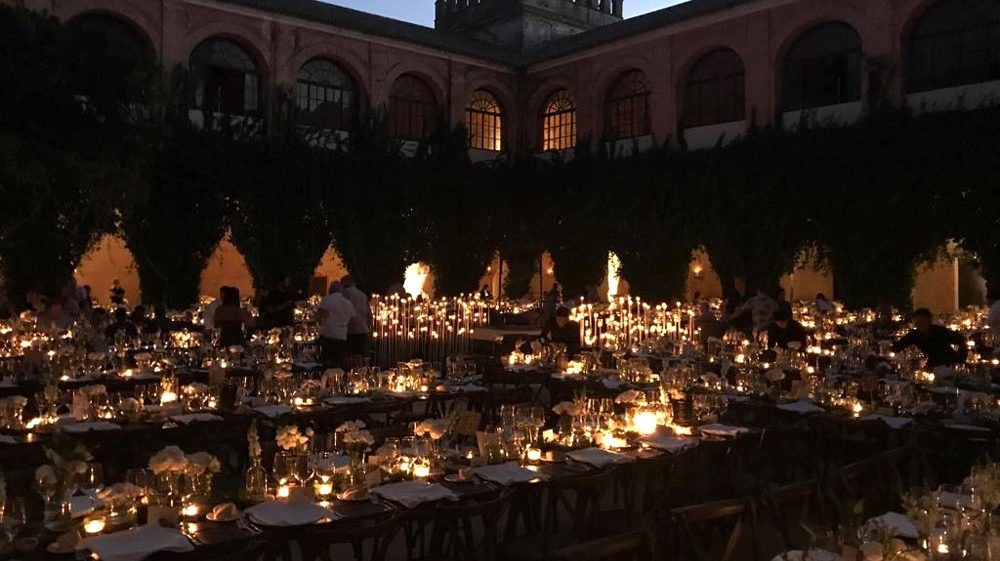 iluminación cena catering